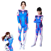 Hot Game OW Dva Cosplay Costume Adult & Kid Spandex Zentai Bodysuit Halloween Party D.va Anime Costumes 3D Printing