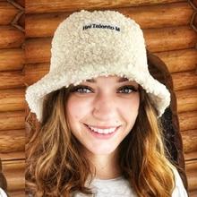 Bucket-Hat Panama Sports Fashion Fishermen-Hat Sunscreen Winter Women Warm Outdoor Lamb