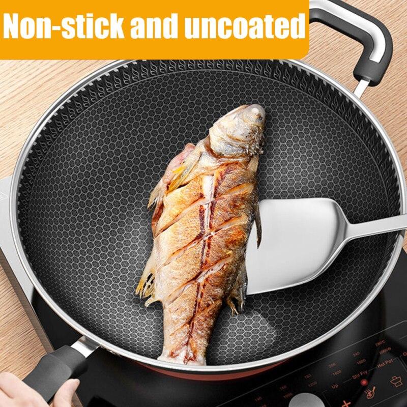 דו צדדי מסך חלת דבש 304 נירוסטה ווק ללא שמן עשן מחבת מחבת טפלון כלי בישול מטבח בישול סיר