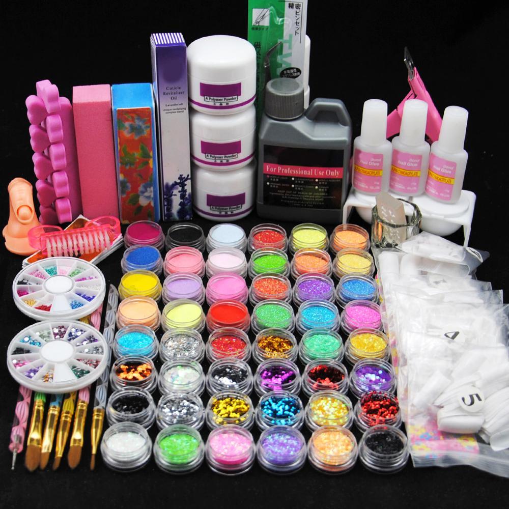 Pro Nail Acrylic Kit Powder Glitter Full Manicure Set For Nail Art Liquid Decoration Crystal Brush Tips Tools Kit For Manicure 9