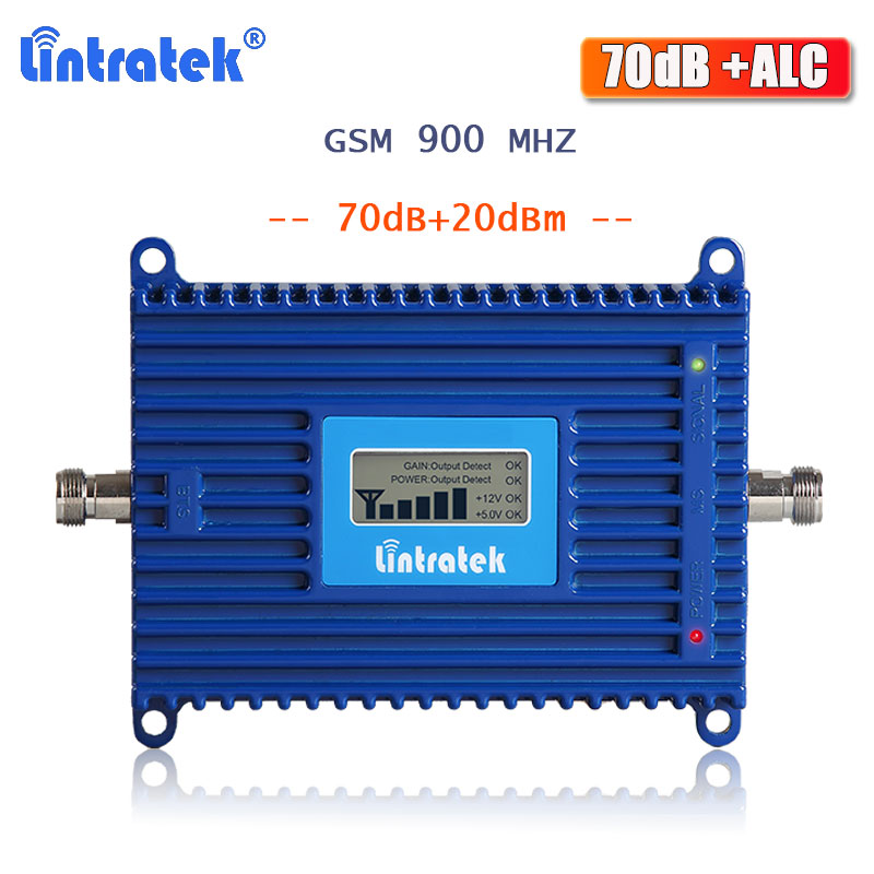 Lintratek GSM Repeater 2G Signal Booster 900mhz Cellular Signal Repeater GSM 900 Voice And Communication Amplifier 70dB ALC