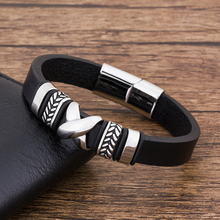 купить High Quarlity Stainless Steel  Fashion Charm Black Punk Leather Bracelet Men Jewelry Accessories  Bangles  Magnet  Luxury в интернет-магазине