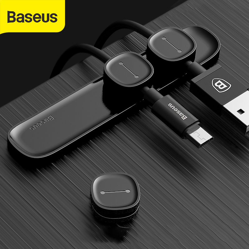 Baseus Magnetic Protector Cable Clip Desktop Tidy Cable Organizer USB Charger Cable Holder Cable Management Kablo Koruyucu