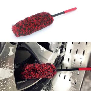 Auto Car Wheel Hub Cleaning Brush Flexible Long Handle Premium Wool Car Rim Brushes Soft Fiber Car Tire Cleaning Brush