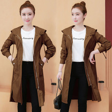 New thin Hooded trench coat women trench Loose trench coat for Women #8217 s long windbreaker clothes Korean tops women long coat cheap MONCAYO Full Broadcloth Casual Polyester Pockets Solid Ages 18-35 Years Old 0036 zipper Wide-waisted