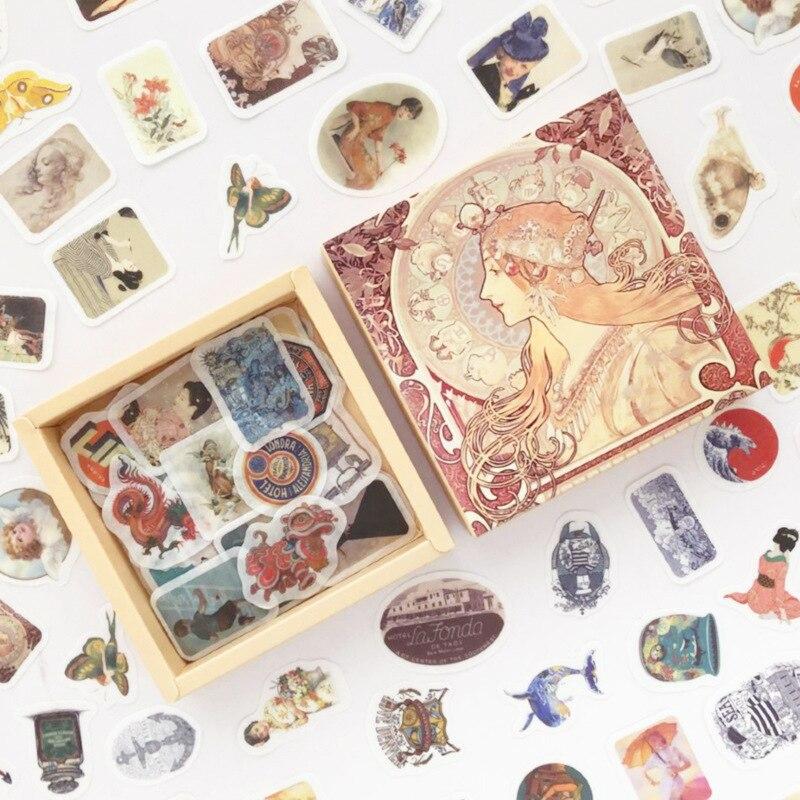 200 Pcs/pack Retro Wind Series Box Bullet Journal Decorative Stationery Stickers Scrapbooking DIY Diary Album Stick
