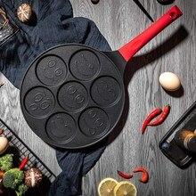 Hot Pancake Maker Non Stick Pancake Pan Piastra Grill Pan Mini Crepe Maker 7 Stampo Frittelle con manico in Silicone, sorriso