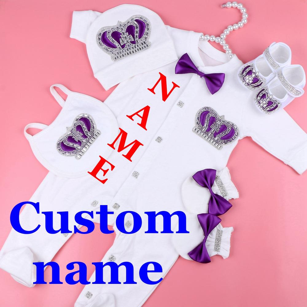 Custom Name Baby Jumpsuit Boy Cotton Newborn Baby Clothes 0-3 Month Rhinestone Crown Jurken White Baby Pajamas Set For Boys