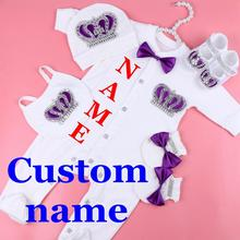 custom name baby jumpsuit boy cotton newborn clothes 0-3 month rhinestone crown jurken white pajamas set for boys