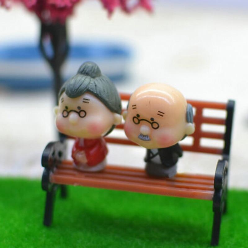 Garden Miniatures Ornament Bench Micro Landscape Decoration Bonsai Bench Figurine DIY Home Garden Statue Home & Garden