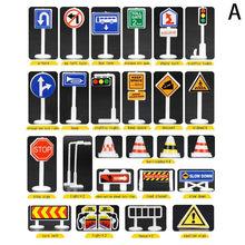 28 pçs carro brinquedo acessórios tráfego estrada sinais crianças jogar aprender brinquedo jogo transporte da gota montessori brinquedo educativo 2021
