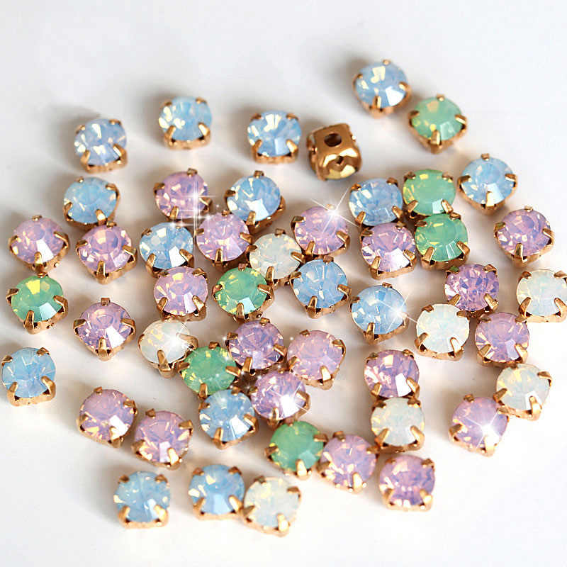 6mm 100pcs Mix Opal Colors Resin Sew On Rhinestones With Gold Claw Flatback White Opal Sew On Claw Rhinestones For Garment B0896