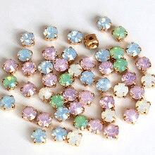 6mm 100 Uds mezcla de colores de ópalo resina coser en diamantes de imitación con garra dorada en miniatura Flatback ópalo blanco coser en diamantes de imitación en base de garra para la ropa B0896