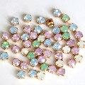 6mm 100 stücke Mix Opal Farben Harz Nähen Auf Strass Mit Gold Klaue Flatback Weiß Opal Nähen Auf Klaue strass Für Bekleidungs B0896