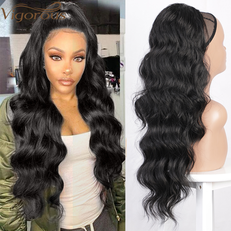Vigorous Wavy Ponytail Extension For Women Synthetic Long Drawstring Wave Ponytail Clip In Hairpiece Black Fake Hair