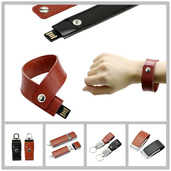 Full Capacity Flash Drive 64G Pen Leather Wrist Band USB 16G Card 32G Bracelet Usb Stick 8GB Memory Disk
