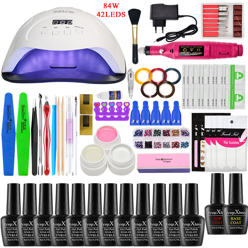 Nail Set LED Nail Lamp Manicure Set UV Lamp Manicure Set 84/54/24W Manicure Set Gel Nail Polish,Nail Tool Kit File Top Base Coat|Sets & Kits|   - AliExpress