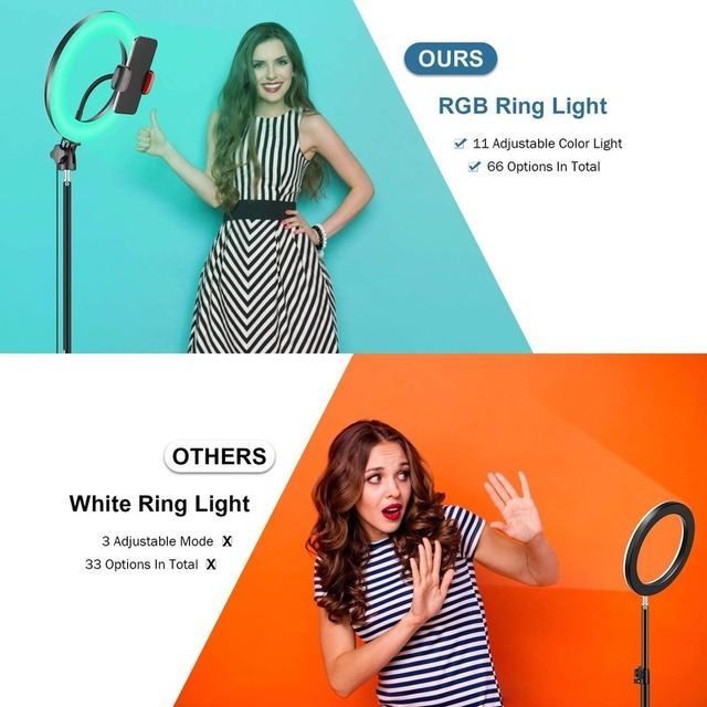 """10"""" RGB Selfie LED Ring Light 26 Colors Mode With 1.6m Tripod Stand Phone Holder For Live Stream/MakeUp/YouTube/TikTok Ringlight 3"""