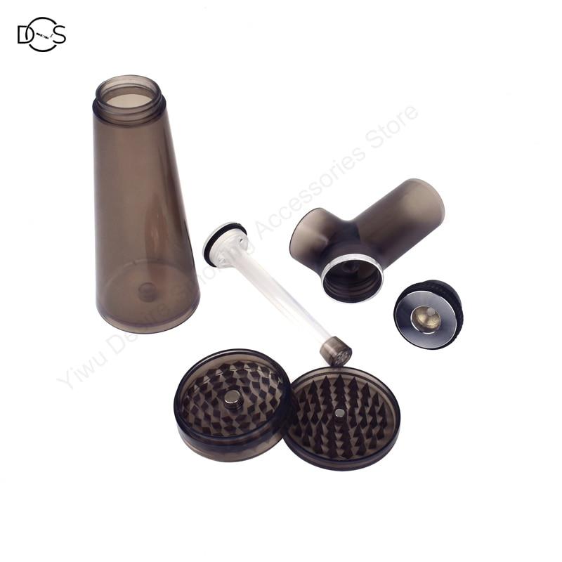 Acrylic Waterpipe With Grinder Hookah Shisha Water Bong Herb Tobacco Grinders for Smoking Weed 5