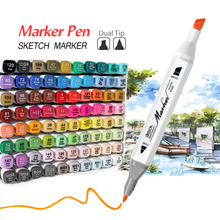 12/24/36/48/60/80 Colors Twin Marker Alcohol Based Markers Dual Head Brush Marker Drawing Pens Manga Art Markers Sketch Pens marvy brush fluorescence fabric markers alcohol fluorescent highlighters japan original cloths soft marker ultra fine line pens