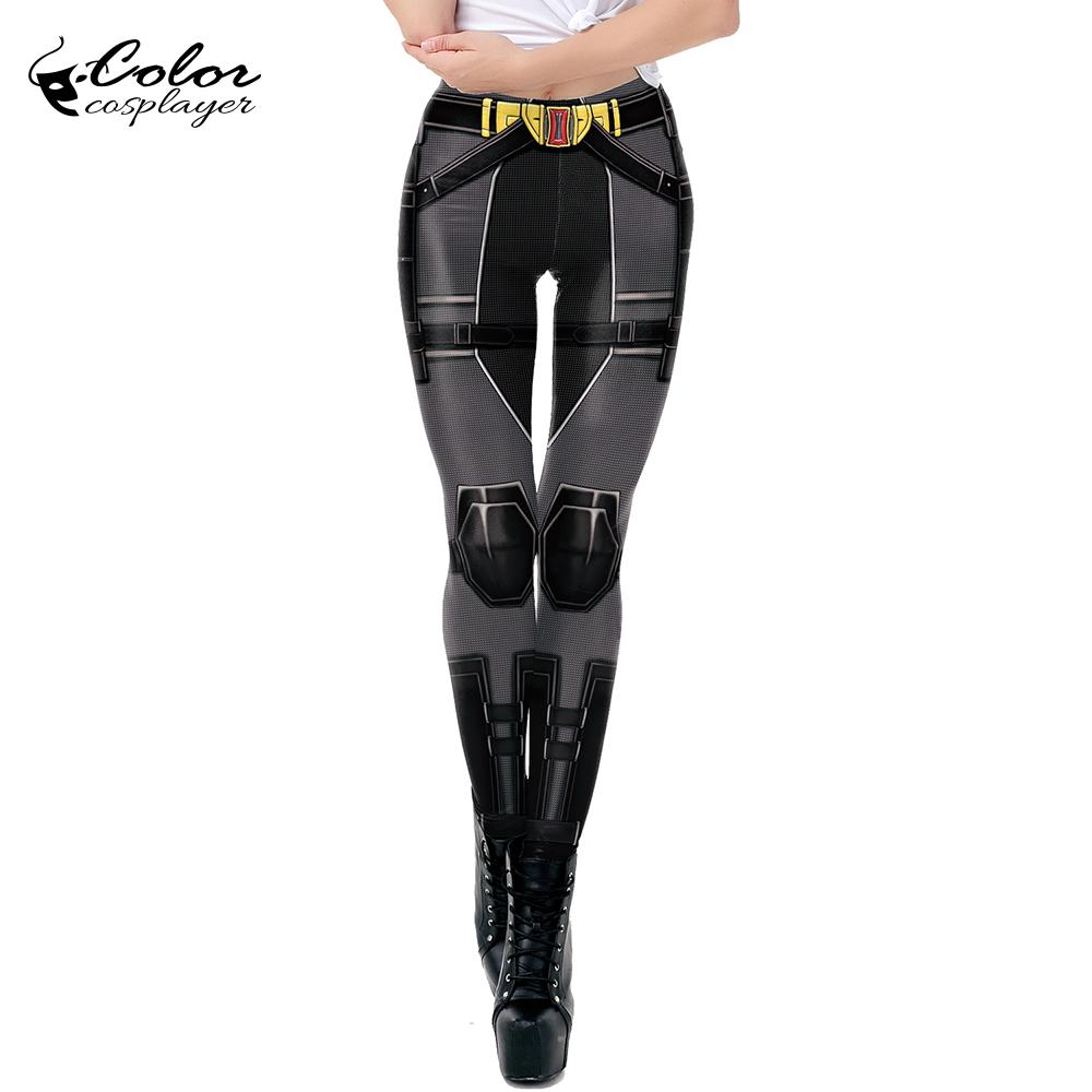 Color Cosplayer Black Widow Cosplay Leggings For Women Scarlett Movie Super Hero Cosplay Costume Sexy Slim Workout Leggins