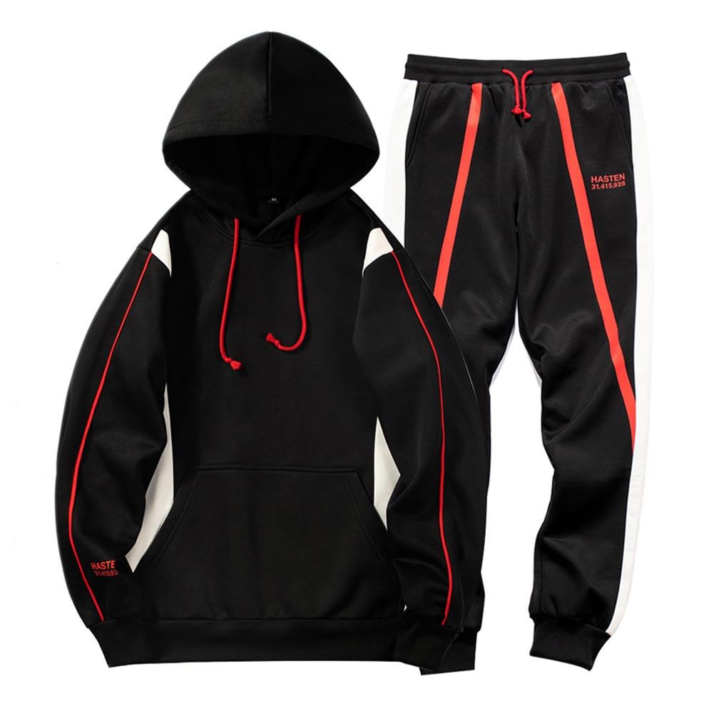 Tunic Turtleneck Hoodie Autumn/winter Monogrammed Running Two-piece Men's Jogging Fitness Sports Suit