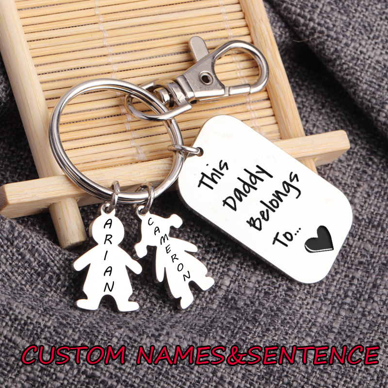 This Daddy Belongs To Keyring Personalised Fathers Day Gifts for Dad Grandad Mummy Grandpa Present Custom Family Children/'s Name Decoration