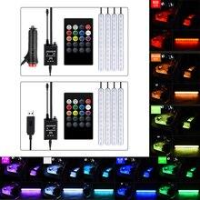 Araba RGB LED müzik ses ses kontrolü araba İç dekoratif atmosfer otomatik RGB yolu zemin ışık şeridi uzaktan kumanda 12V