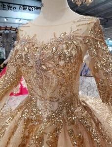 Image 5 - 골드 긴 소매 공 가운 웨딩 드레스 2020 아랍어 이슬람 화려한 골드 레이스 크리스탈 푹신한 빈티지 신부 여성 착용