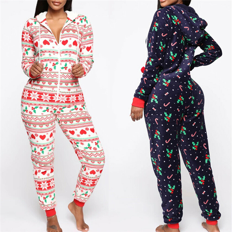 Long Sleeve Women Jumpsuit Hooded Zipper Style Pajamas Sets Lady Christmas Sleepwear Xmas Nightwear