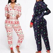 Long Sleeve Women Jumpsuit Hooded Zipper Style Pajamas Sets Lady Christmas Sleep