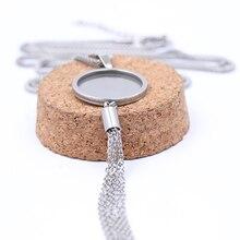 Onwear cadre cabochon vide en acier inoxydable 5 pièces, paramètres de base en acier inoxydable, collier pendentif 20mm dia, plateaux à lunette avec breloques à pompon pour bijoux