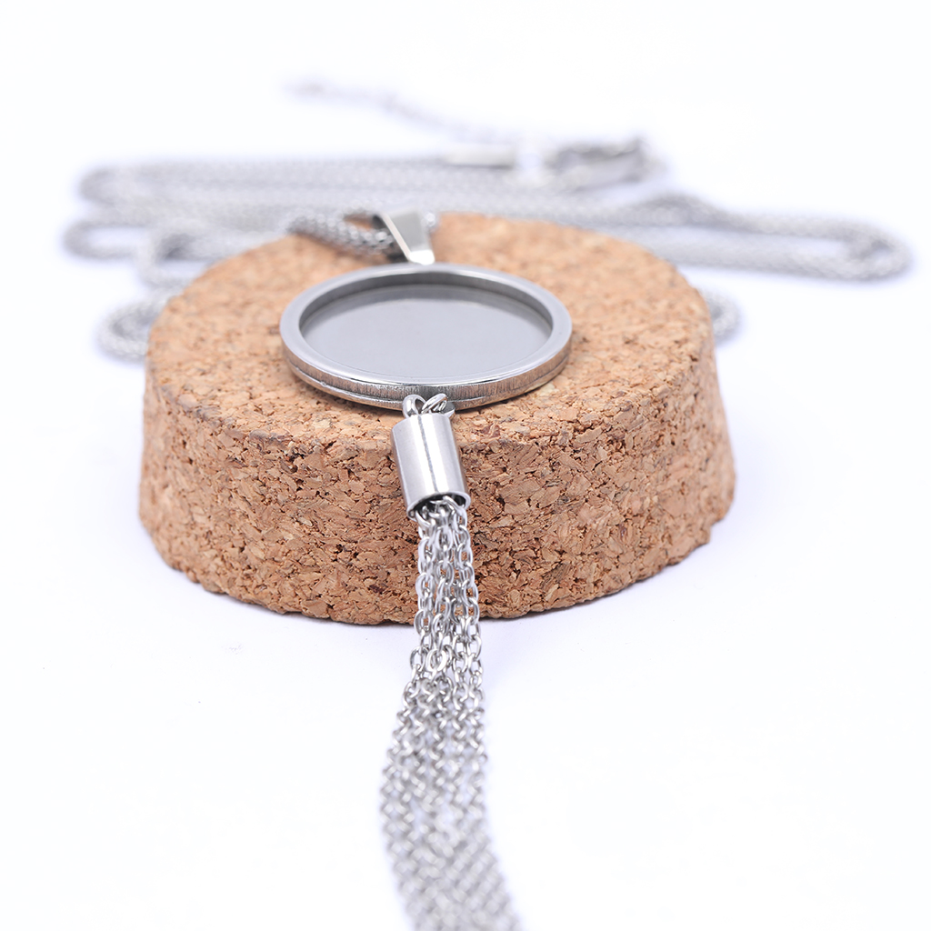 onwear 5pcs stainless steel blank cabochon base settings 20mm dia pendant necklace bezel trays with tassel charms for jewelry