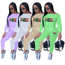 Cartoon Letter Sequins Two Piece Set Loose Moleton Feminino Tracksuit For Women Activewear Casual Outfits Matching Sets Clothing
