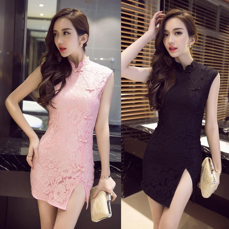 2020 Women Chinese Party Dress Sexy Cheongsams Bodycon Sleeveless Mandarin Collar Hollow Carved Lace Qipao