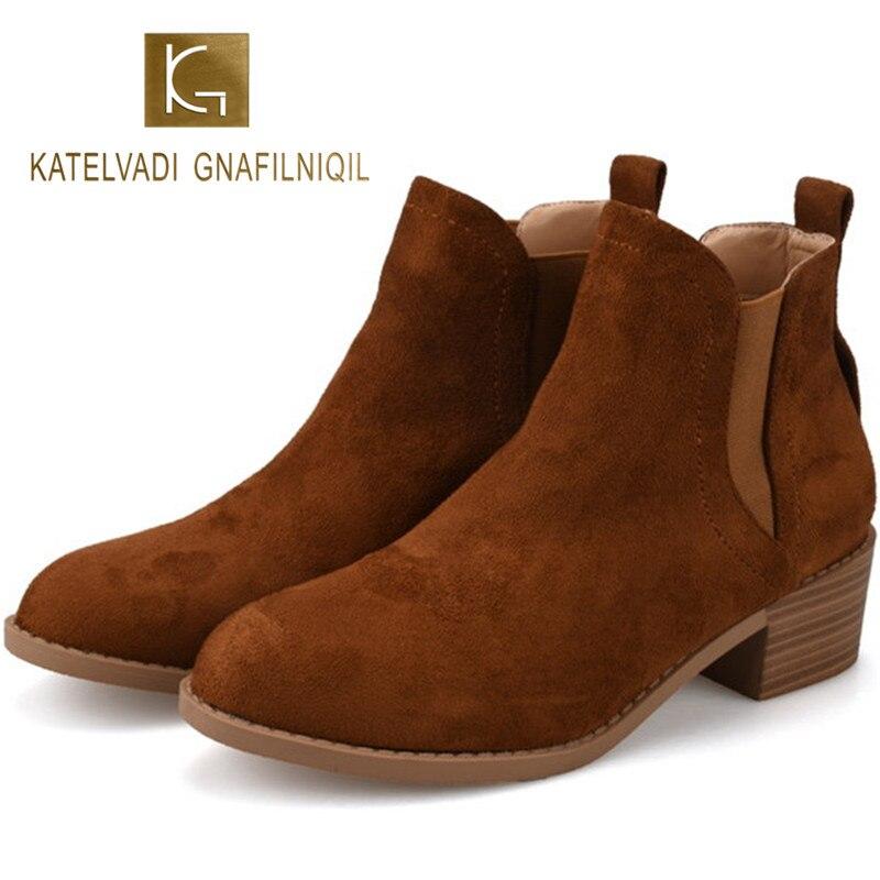KATELVADI Winter Warm Flock Boots With Short Plush Inside Brown 3CM Block Heels Women Ankle Chelsea K-487