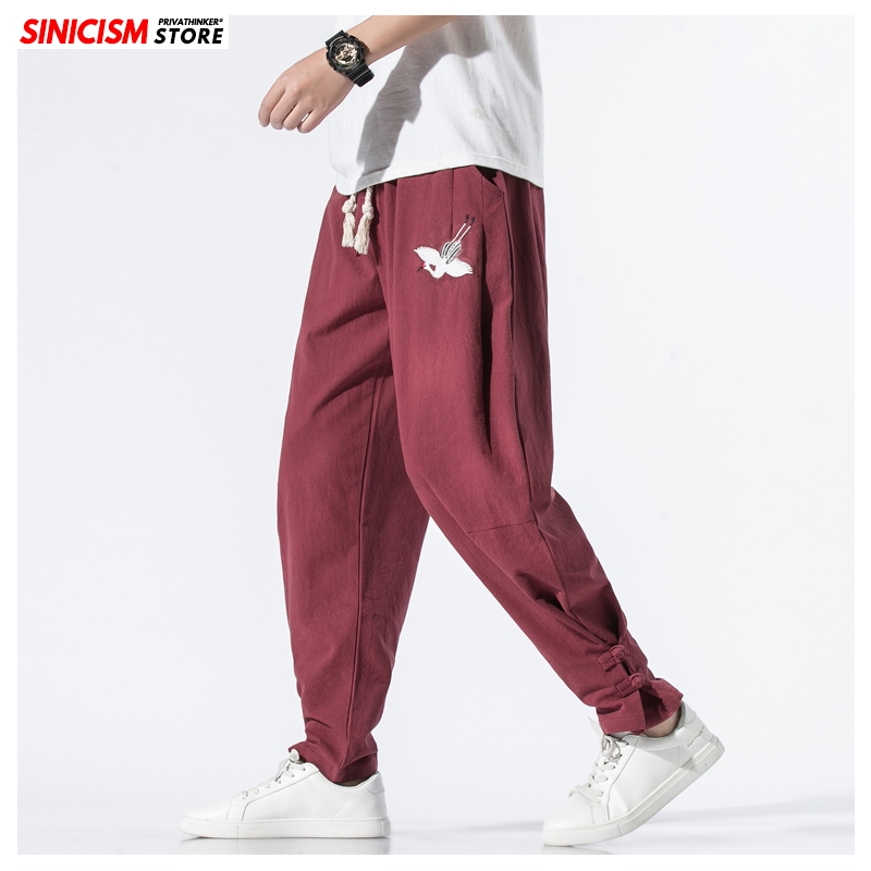 Sinicism Store Mens 2020 Chinese Style Harem Pants Male Summer Casual Full-Length Joggers Man Crane Embroidery Loose Toursers