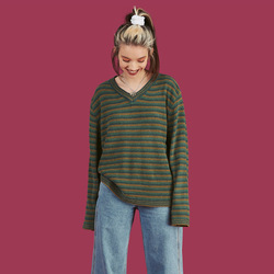 2019 Autumn And Winter New Style Unif Celebrity Style Europe And America Stripes Color V-neck Pullover Sweater 3
