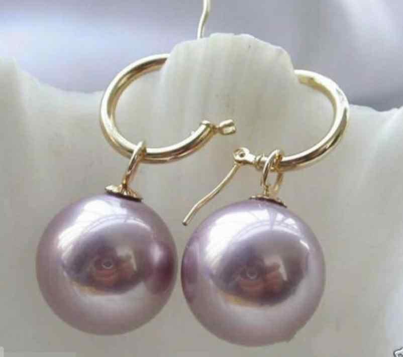 El color puede elegir raro enorme 14mm Tahitian luz púrpura Mar del Sur Shell perla pendiente