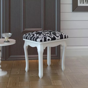 Vidaxl European Minimalist Wood Dressing Table Stool Dressing Stool Nail Makeup Chair Bedroom Sitting Stool V3