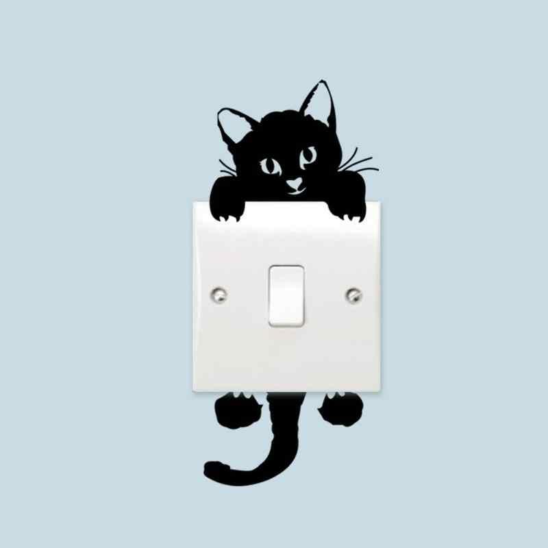 חמוד חתול דוב קיר מדבקת אור מתג עמיד למים 3D קיר מדבקות מתג מגן מדבקת כיסוי שקע קישוט
