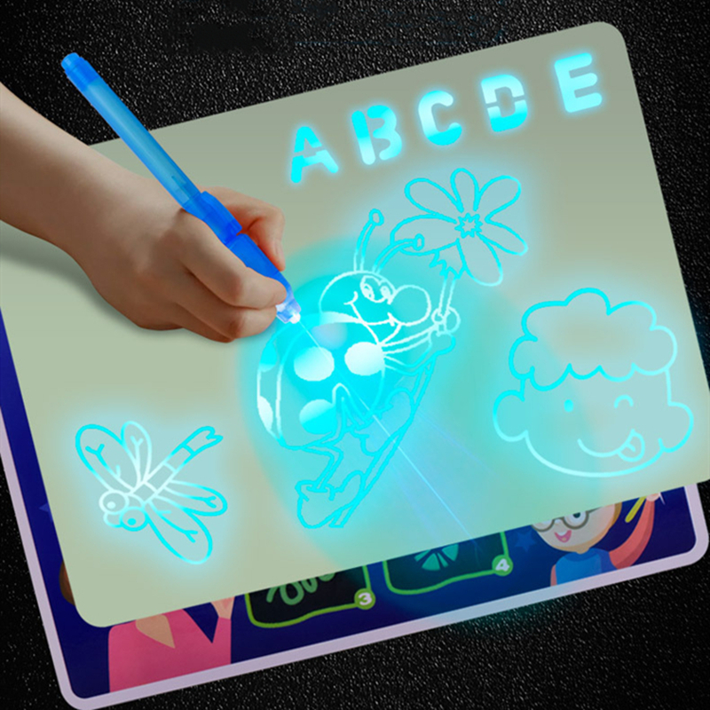 Draw with Light In Dark A3 Luminous LED Children Toys Tablet Magic Drawing Board Set Fluorescent Pen Educational Noctilucent Kid|Drawing Toys|   - AliExpress