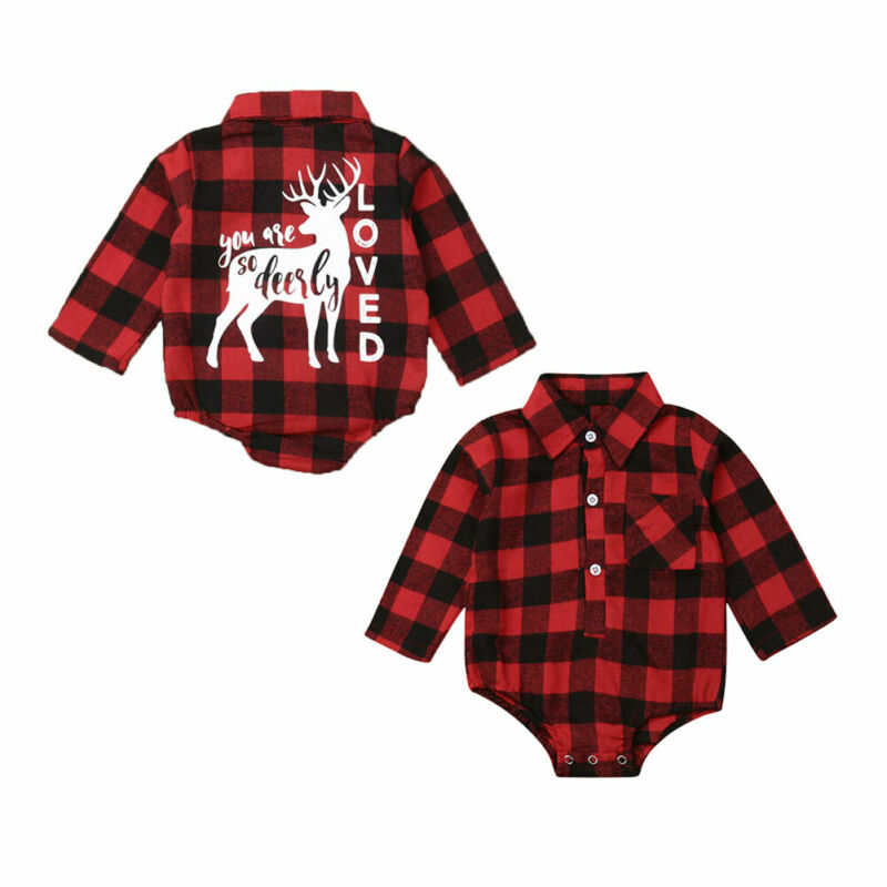 Xmas Newborn Baby Boy Girl Christmas Deer Romper Playsuit Plaids Outfits 0-18M