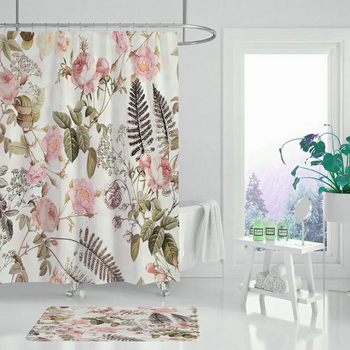 Garden flowers plant flowers shower curtain bathroom curtain fabric waterproof polyester shower curtain portrait shadow waterproof fabric shower curtain