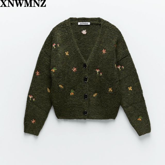 XNWMNZ Za women Vintage knit cardigan with embroidery Long sleeves V-neck ribbed trims Cardigan Female Elegant sweater Outerwear 1