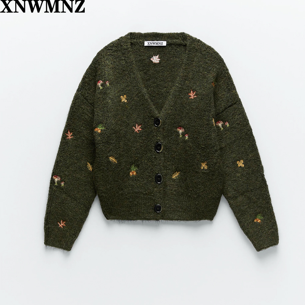 XNWMNZ Za women Vintage knit cardigan with embroidery Long sleeves V neck ribbed trims Cardigan Female Elegant sweater Outerwear