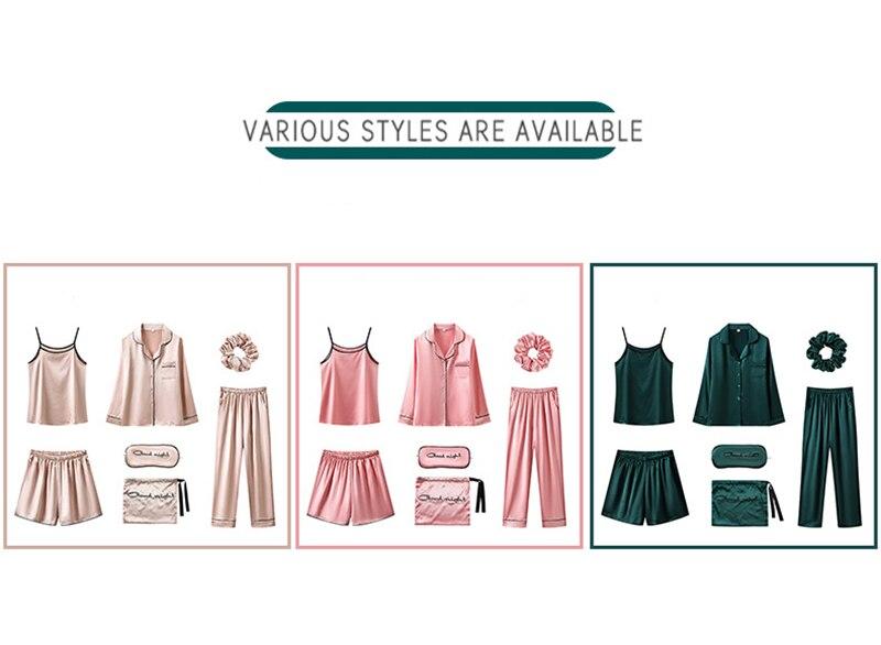 H43e15d5b6f5946dc8140f218a23d4b6d9 JULY'S SONG 7 Piece Women Pajamas Set Stain Soft Pyjama Spring Summer Female Nightwear Solid Faux Silk Shorts Homewear 2020