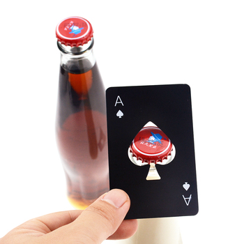 1 Pc Creative Spade A Poker Card Beer Bottle Opener  Stainless Steel Bottle Opener Black Silver Party Decor Bar Accessories 1