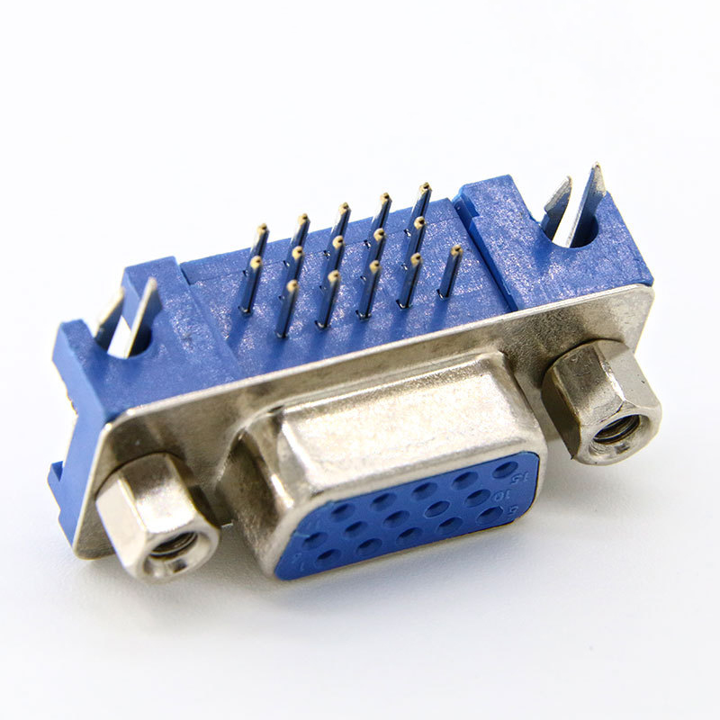 5pcs VGA <font><b>D</b></font>-<font><b>Sub</b></font> Female <font><b>DB15</b></font> DR 15 15 Pin Right Angle 3 Rows Blue Parallel Port PCB Mount Connector Socket Adapter 5.8 5.80 3.08 image