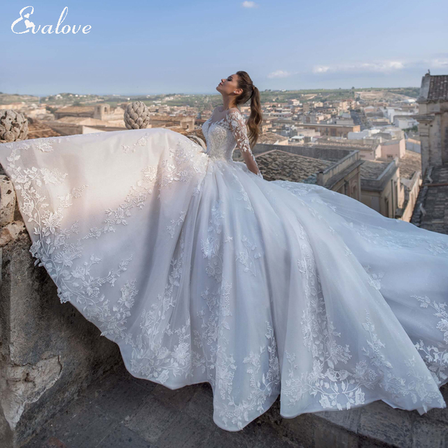 EVALOVE Luxury Scoop Neck Lace Up Beading A-Line Wedding Dress Gorgeous Long Sleeve Appliques Sparkly Tulle Vintage Bridal Gown 1